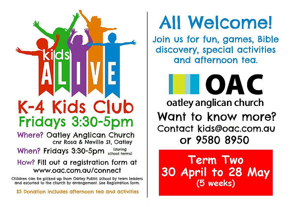 Kids Alive A6 flyer 2021 Term 2-  2 side