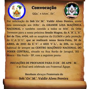 Iniciações de novos membros acontecerão nessa sexta na Grande Loja Maçônica Nacional - GLOMN