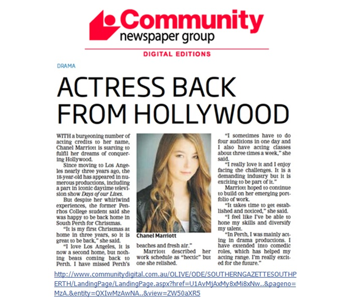 ACTRESS BACK FROM HOLLYWOOD
