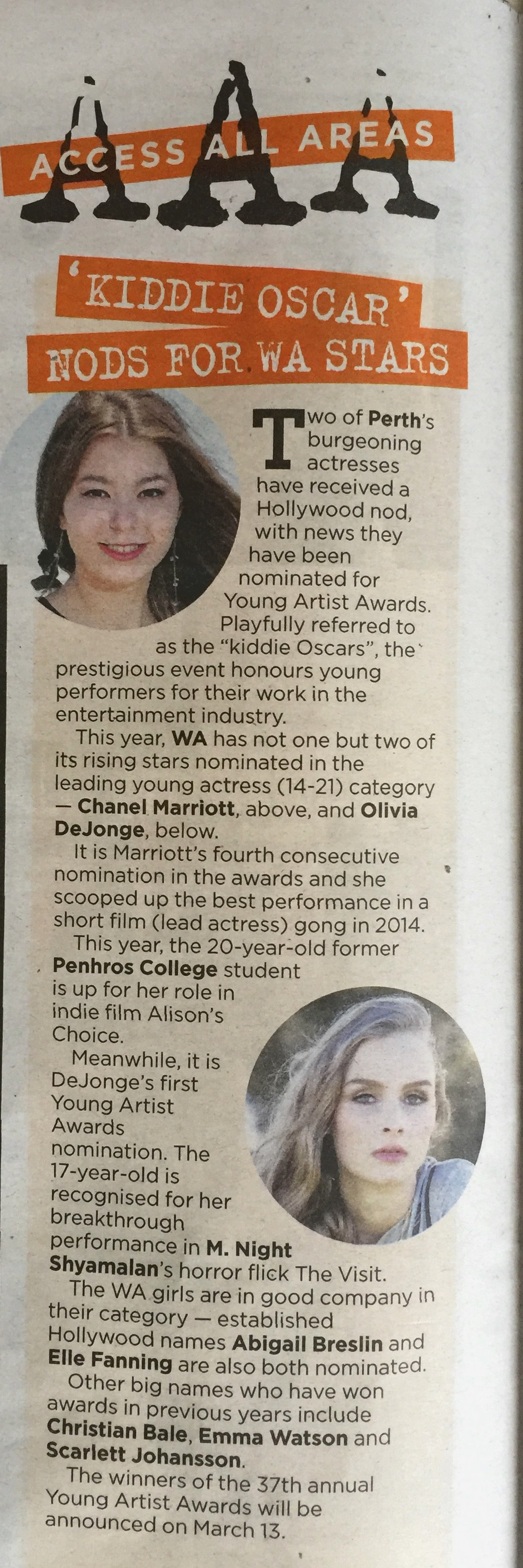 'Kiddie Oscar' nods for WA Stars