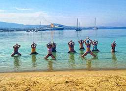 Yoga in clear, warm water