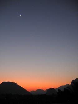 Moon Rising Over Sunset, Laos