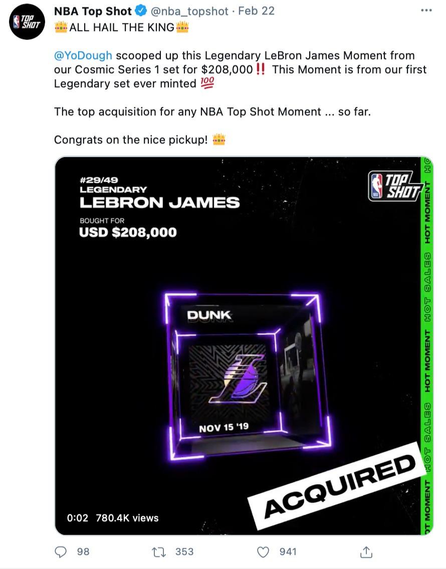 LeBron James Cosmic Series 1 Legendary Moment sold for $208,000
