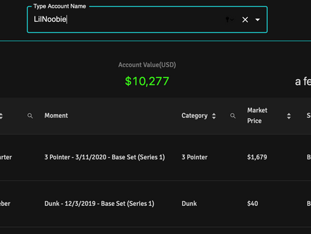 Two tools to view your (or anyone's) NBA Top Shot account value: Evaluate.Market & Intangible.Market