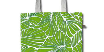 Canvas 4-Pocket Tote: Green Leaf