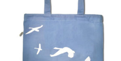 Canvas 4-Pocket Tote: Swans