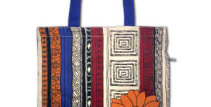 Canvas 4-Pocket Tote: African Flower