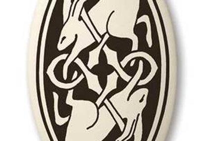 Hare: Oval Celtic Pendant