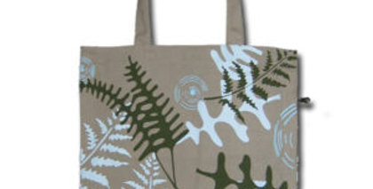 Canvas 4-Pocket Tote: Ferns