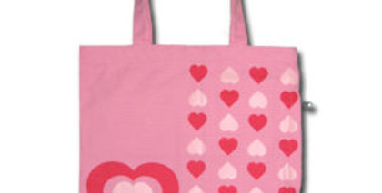 Canvas 4-Pocket Tote: Pink Field of Hearts