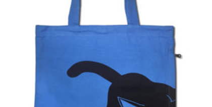 Canvas 4-Pocket Tote: Peeking Cat