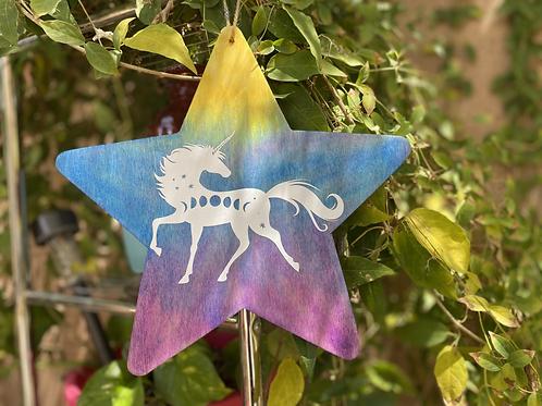 Rainbow Star Unicorn Wall Art