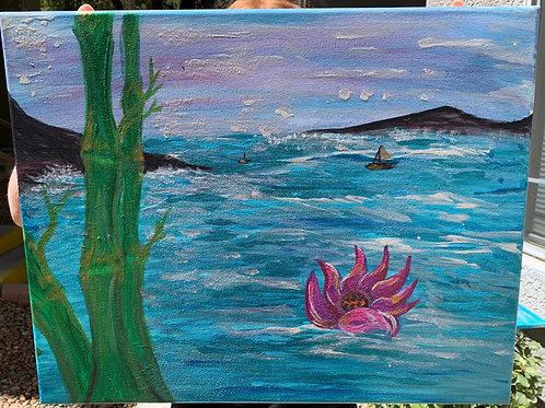 Lotus on Choppy- by Nieva Pearl