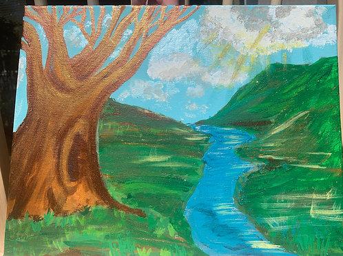 Big Tree by the Stream- by Nieva Pearl