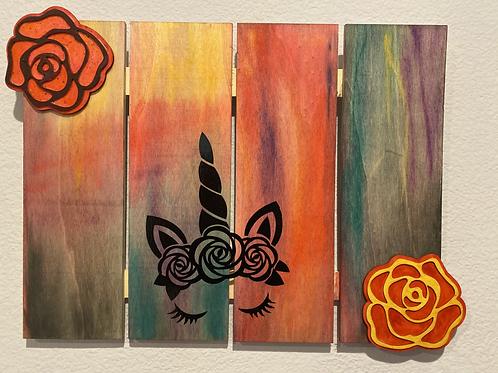Rainbow Unicorn Rose Wall Art