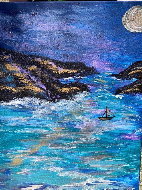 Choppy Night Sea- by Nieva Pearl