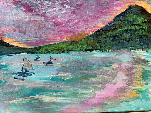 Sailing Canoes at Sunrise
