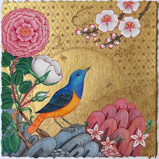 There is a Bird Among the Blossoms Calling SOLD
