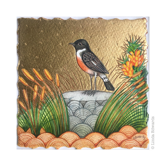 Stonechat and Grasses SOLD