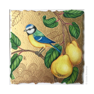 Blue Tit and Quince Tree SOLD