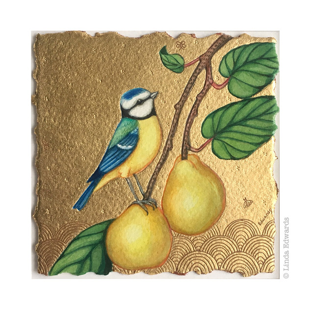 Blue Tit and Quinces SOLD