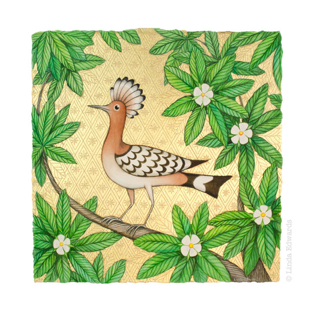 Hoopoe in Spring Medlar SOLD