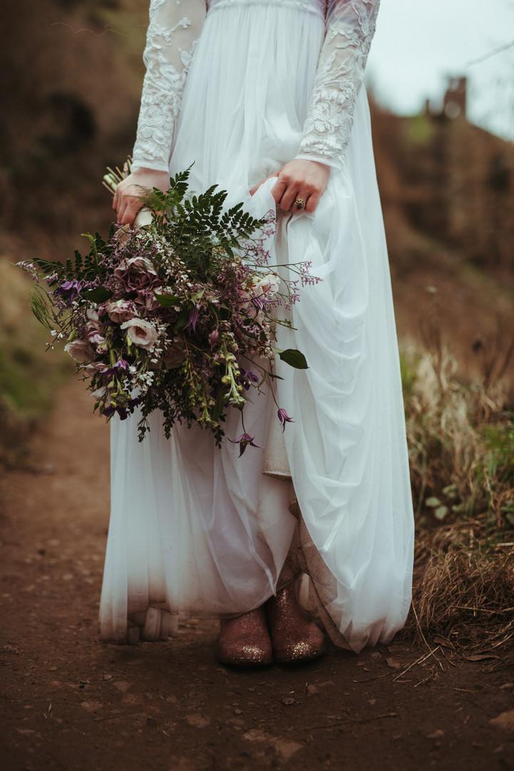 Bohemian Bride wearing Wellies