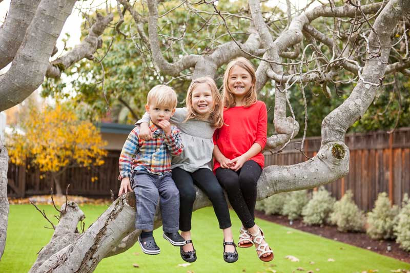 three kids smiling in a backyard tree