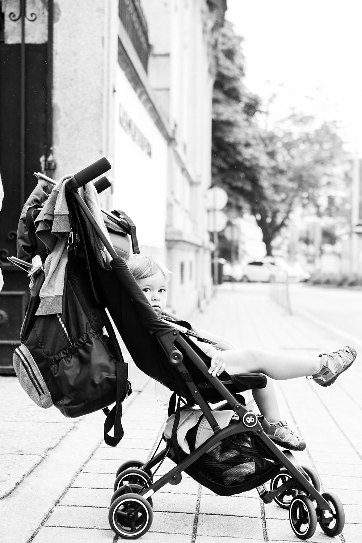 black and white image, toddler, stroller, Porto, Portugal