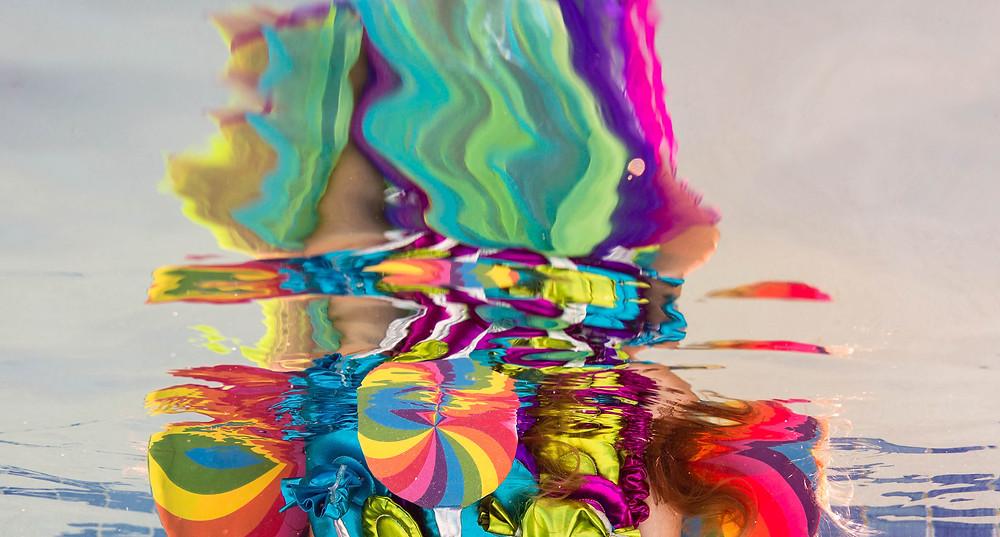 kaleidoscope photography, lollipop, underwater photography, underwater kids