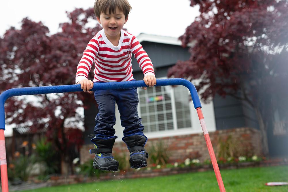 little boy in red striped shirt, San Jose
