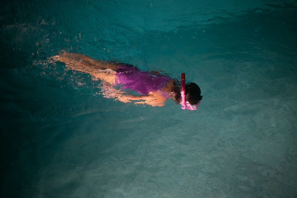 girl swimming, underwater photography