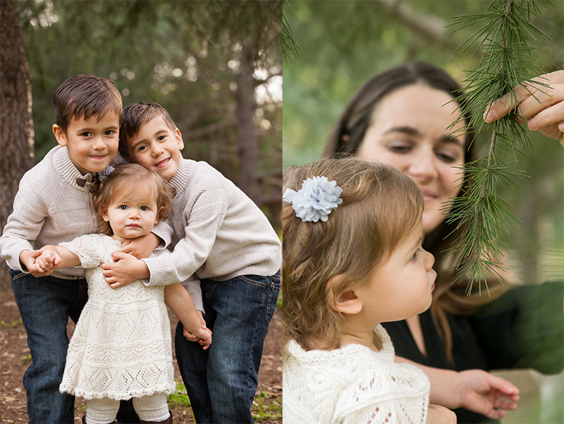 Twin brothers snuggling their baby sister and Mom letting her baby smell the pine tree.