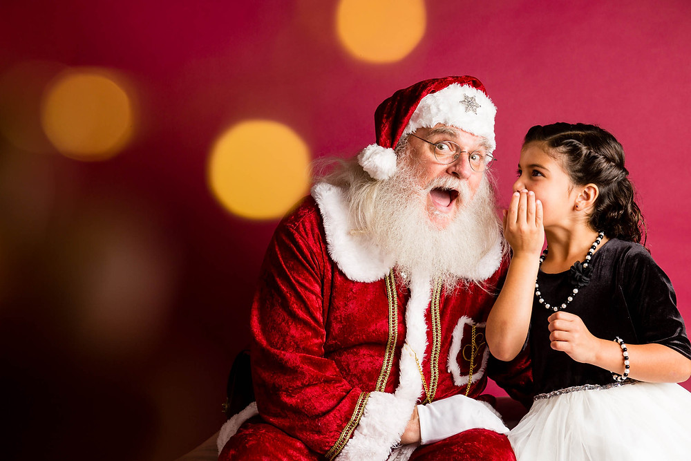Santa mini sessions 2019, bokeh, red backdrop, Santa, girl