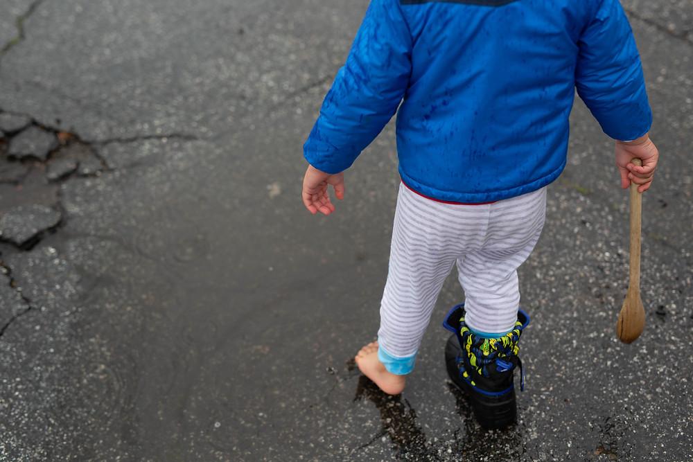 splashing in puddles, toddler boy, San Jose