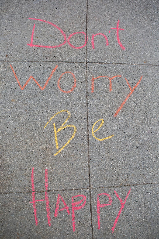 Don't Worry Be Happy chalk art, Mary Bea Photography