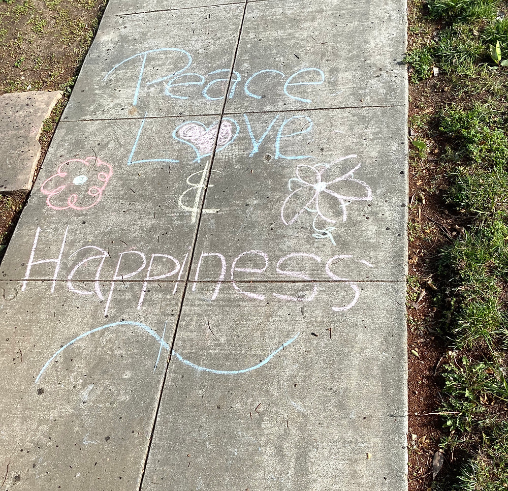 Peace, Love & Happiness chalk art, San Jose, California