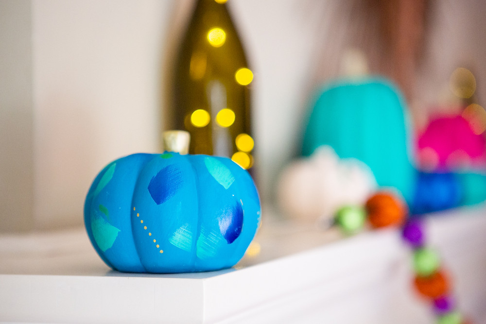 abstract Halloween pumpkin, blue