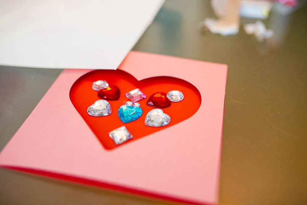 Valentine's Day activity card, heart, sticker jewels