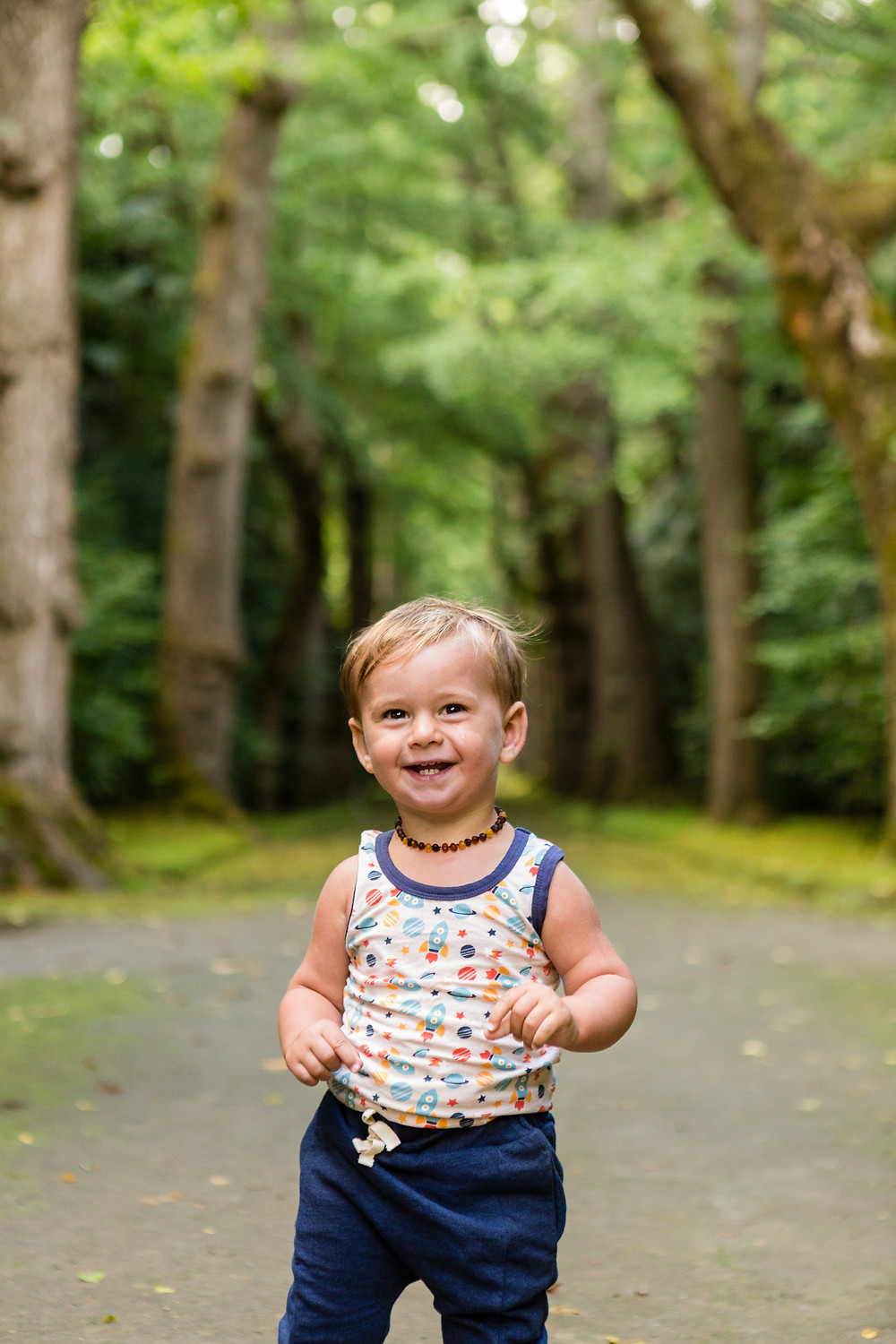one year old boy in Azores Portugal green space