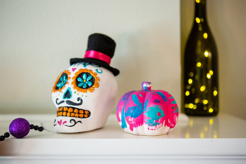 painted sugar skull, abstract painted pumpkin, Halloween 2019