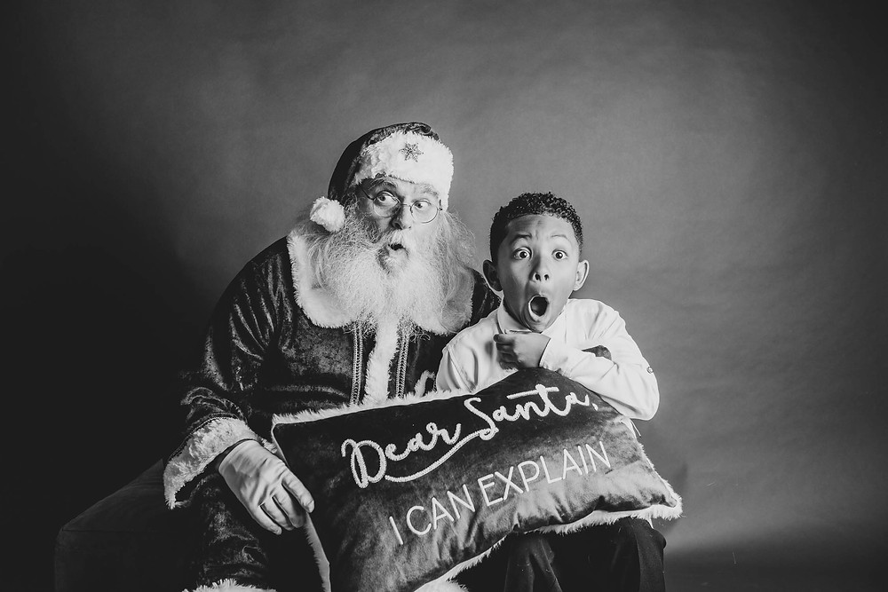 black and white, Santa, surprised child
