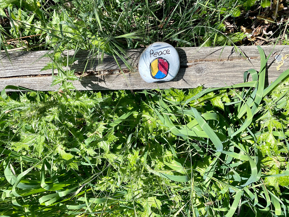 painted rock on a railroad tie, San Jose