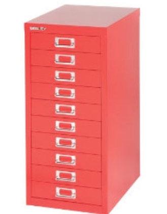 Bisley 10 Drawer filing Cabinet - Red