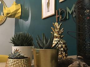 cache pot doré, cactus, plants grasses, ananas, origami