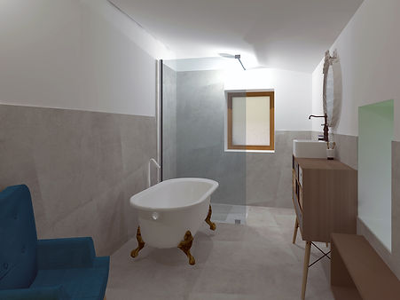 salle de bain béton ciré gris et bois