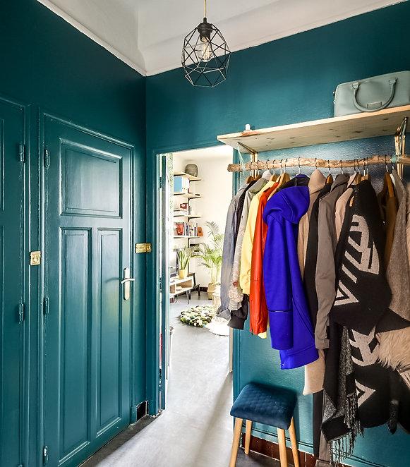 porte manteau, étagère, boi, branche de bois, doré, vert,