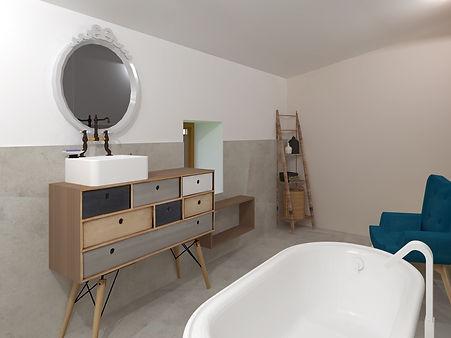 salle de bain béton ciré gris , bois et bleu