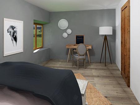 chambre rose poudrée, gris et bois