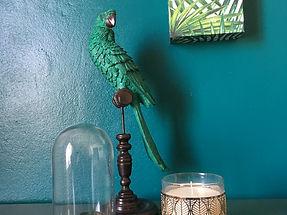 perroque, maisn du monde, doré, vert forêt, bougie, décoration